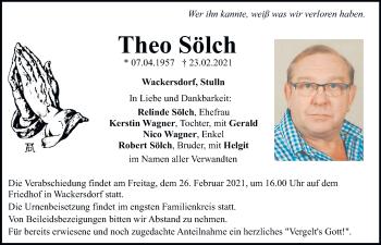 Traueranzeige von Theo Sölch von Mittelbayerische Zeitung Schwandorf