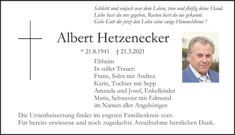 Traueranzeige für Albert Hetzenecker vom 27.03.2021 aus Mittelbayerische Zeitung Regensburg