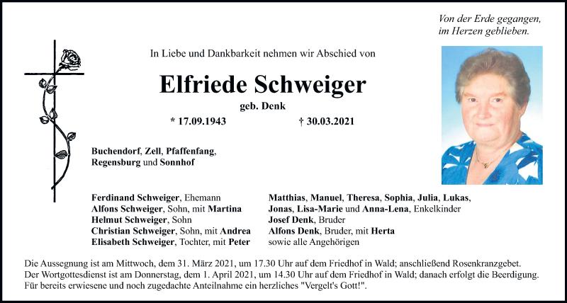 Traueranzeige für Elfriede Schweiger vom 31.03.2021 aus Bayerwald Echo