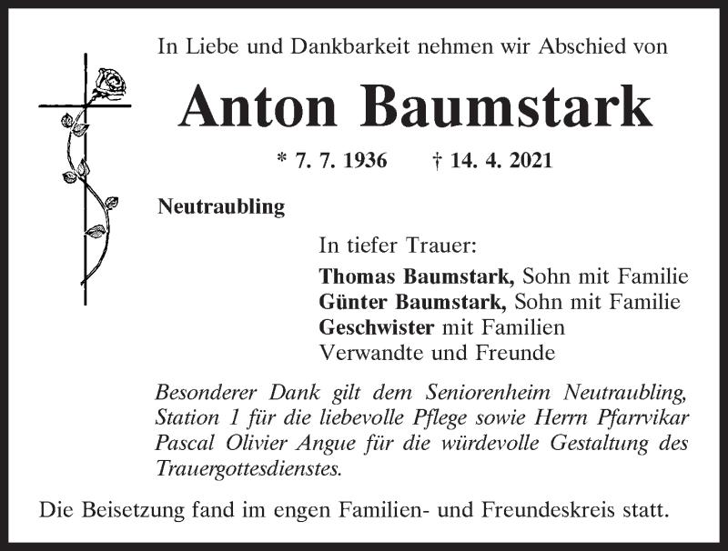 Traueranzeige für Anton Baumstark vom 30.04.2021 aus Mittelbayerische Zeitung Regensburg