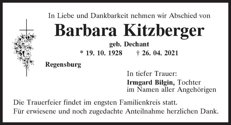 Traueranzeige für Barbara Kitzberger vom 30.04.2021 aus Mittelbayerische Zeitung Regensburg