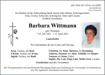 Traueranzeige von Barbara Wittmann von Neumarkter Tagblatt