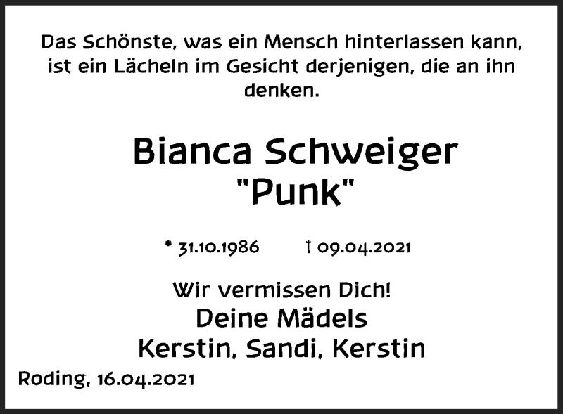 Traueranzeige für Bianca Schweiger vom 20.04.2021 aus Bayerwald Echo