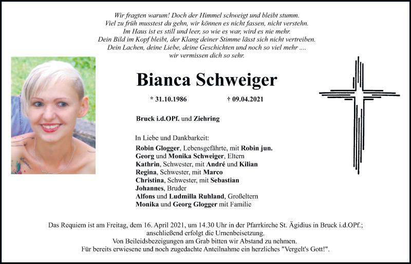 Traueranzeige für Bianca Schweiger vom 14.04.2021 aus Mittelbayerische Zeitung Regensburg