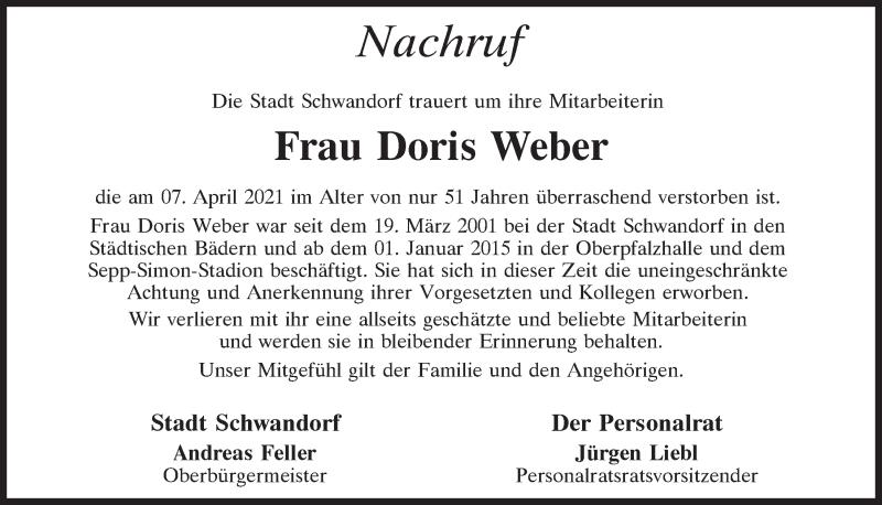 Traueranzeige für Doris Weber vom 15.04.2021 aus Mittelbayerische Zeitung Schwandorf