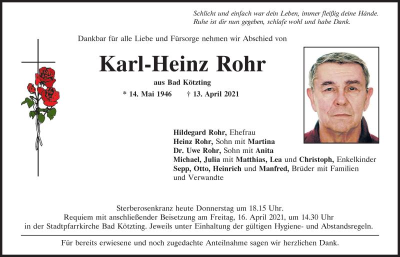 Traueranzeige für Karl-Heinz Rohr vom 15.04.2021 aus Bayerwald Echo