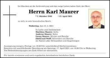 Traueranzeige von Karl Maurer von Mittelbayerische Zeitung Regensburg