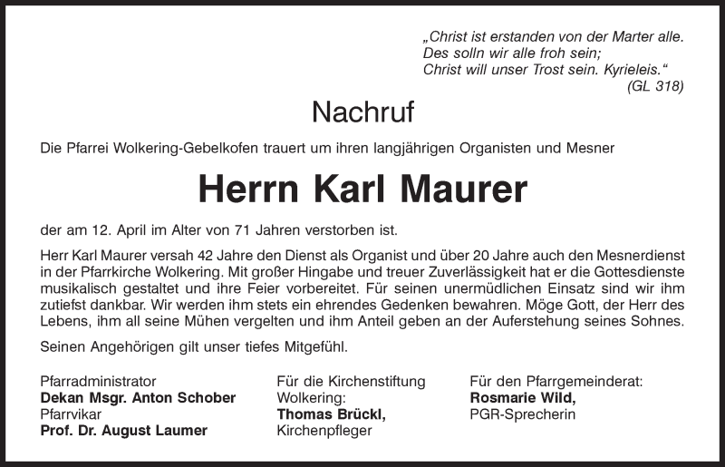 Traueranzeige für Karl Maurer vom 16.04.2021 aus Mittelbayerische Zeitung Regensburg