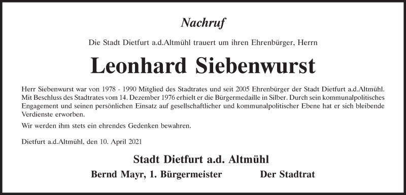 Traueranzeige für Leonhard Siebenwurst vom 10.04.2021 aus Neumarkter Tagblatt