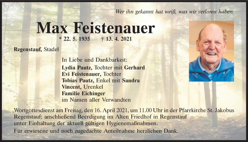 Traueranzeige für Max Feistenauer vom 14.04.2021 aus Mittelbayerische Zeitung Regensburg