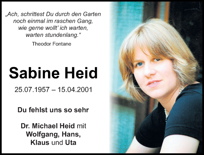 Traueranzeige für Sabine Heid vom 15.04.2021 aus Mittelbayerische Zeitung Kelheim