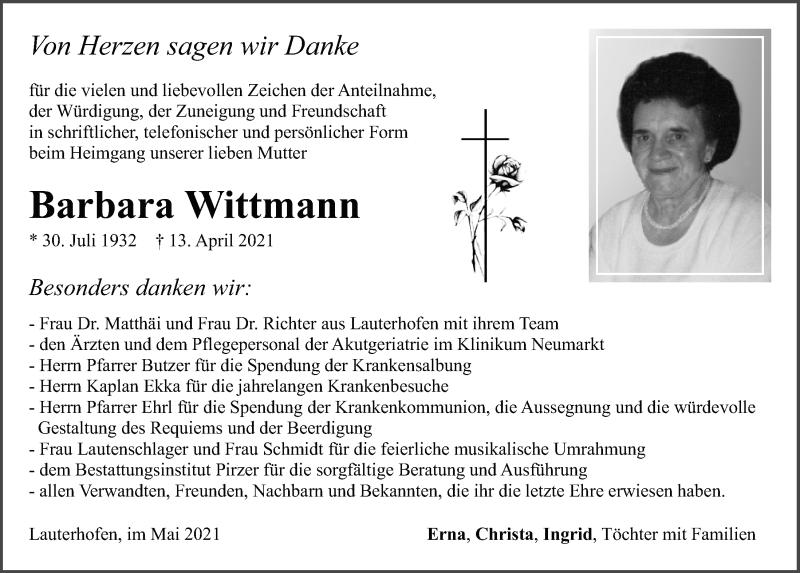 Traueranzeige für Barbara Wittmann vom 07.05.2021 aus Neumarkter Tagblatt