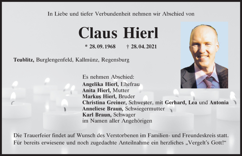 Traueranzeige für Claus Hierl vom 04.05.2021 aus Mittelbayerische Zeitung Schwandorf