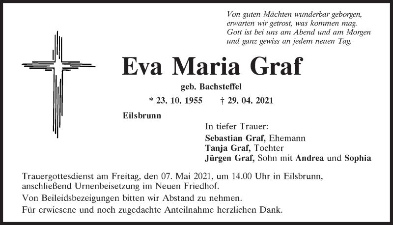 Traueranzeige für Eva Maria Graf vom 04.05.2021 aus Mittelbayerische Zeitung Regensburg