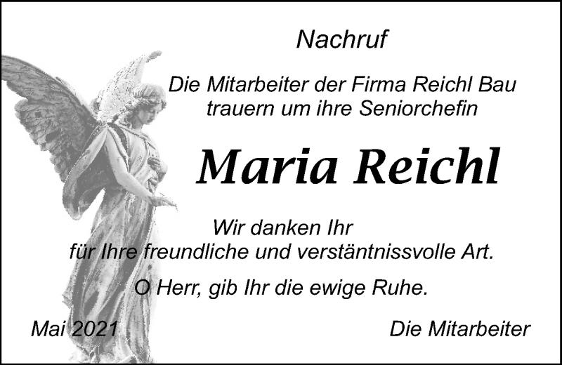 Traueranzeige für Maria Reichl vom 07.05.2021 aus Mittelbayerische Zeitung Schwandorf