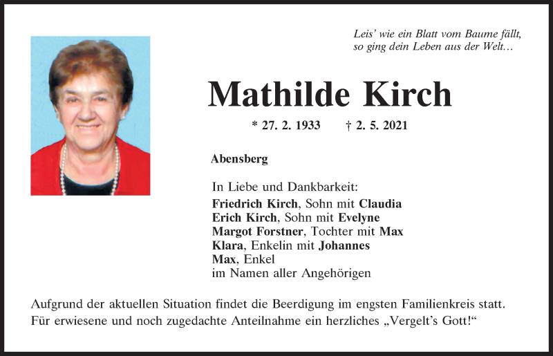 Traueranzeige für Mathilde Kirch vom 04.05.2021 aus Mittelbayerische Zeitung Kelheim