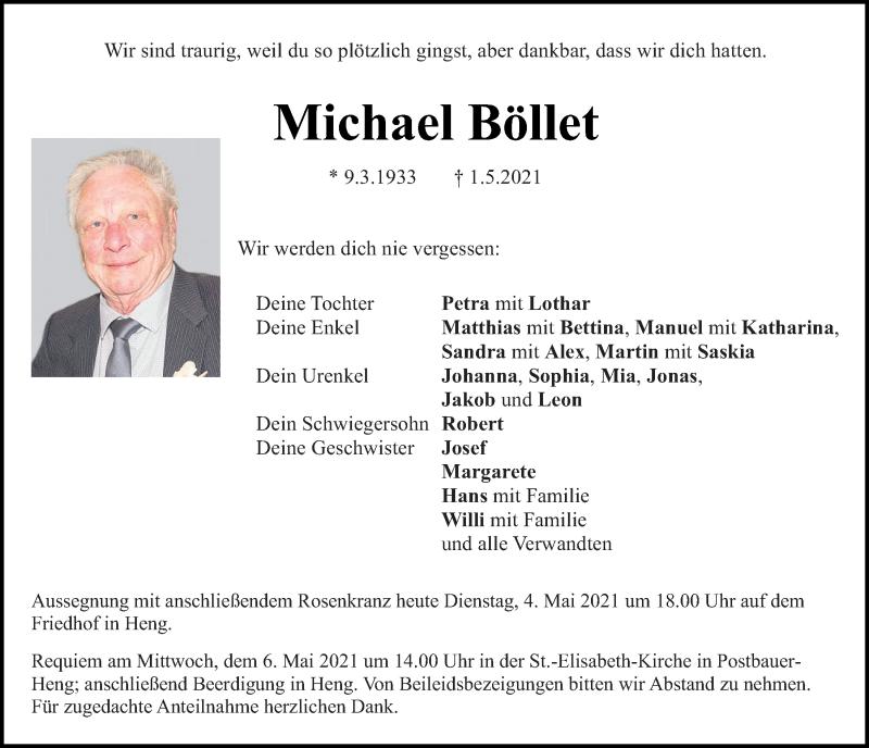 Traueranzeige für Michael Böllet vom 04.05.2021 aus Neumarkter Tagblatt