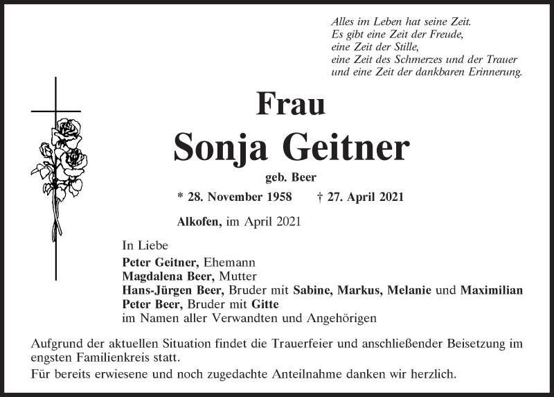 Traueranzeige für Sonja Geitner vom 04.05.2021 aus Mittelbayerische Zeitung Kelheim