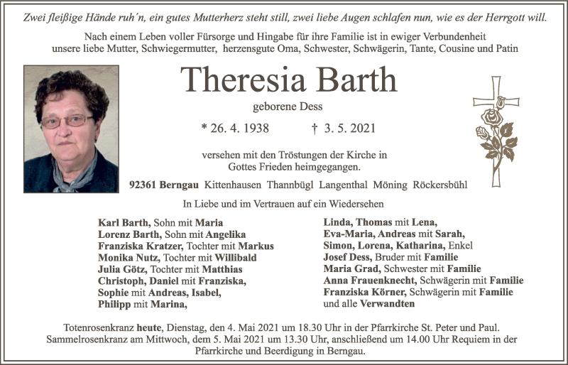 Traueranzeige für Theresia Barth vom 04.05.2021 aus Neumarkter Tagblatt