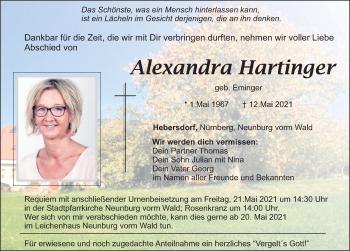 Traueranzeige von Alexandra Hartinger von Mittelbayerische Zeitung Schwandorf