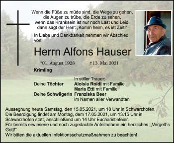 Traueranzeige von Alfons Hauser von Mittelbayerische Zeitung Schwandorf