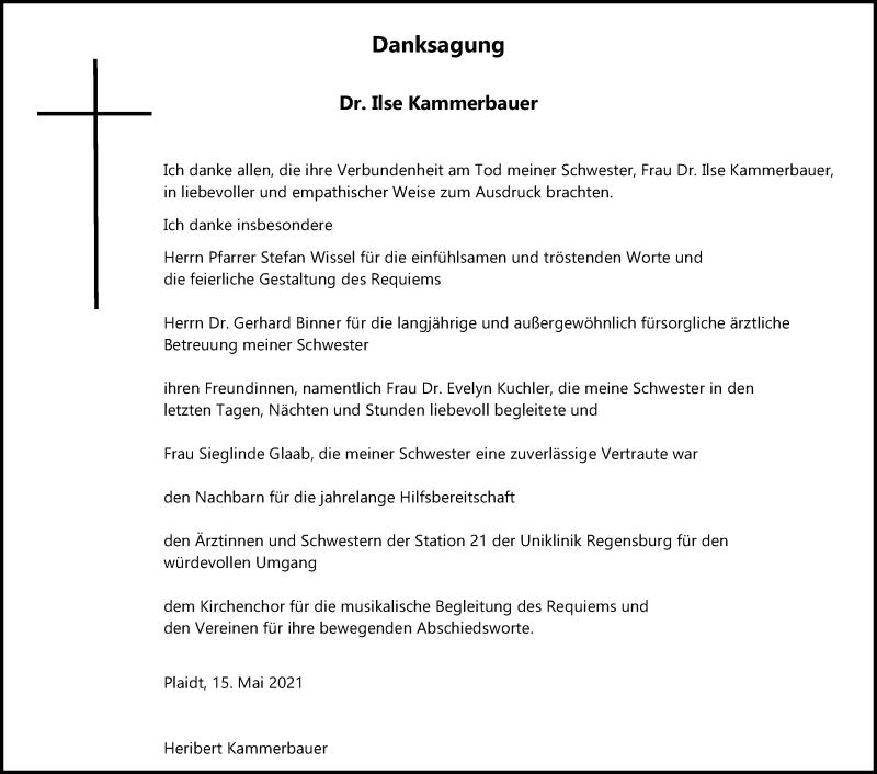 Traueranzeige für Ilse Kammerbauer vom 15.05.2021 aus Mittelbayerische Zeitung Regensburg