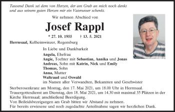 Traueranzeige von Josef Rappl von Mittelbayerische Zeitung Regensburg