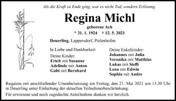 Traueranzeige von Regina Michl von Mittelbayerische Zeitung Regensburg