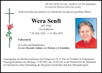 Traueranzeige von Wera Senft von Bayerwald Echo