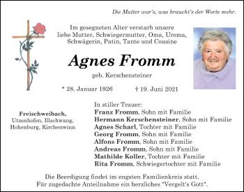 Traueranzeige von Agnes Fromm von Neumarkter Tagblatt