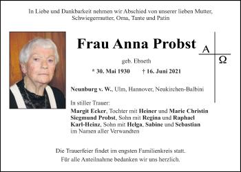 Traueranzeige von Anna Probst von Mittelbayerische Zeitung Schwandorf