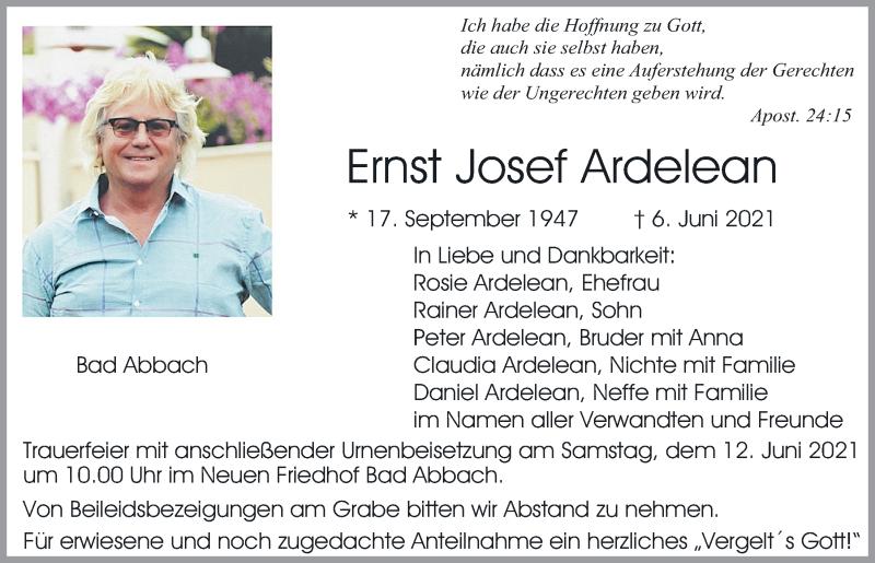 Traueranzeige für Ernst Josef Ardelean vom 09.06.2021 aus Mittelbayerische Zeitung Regensburg