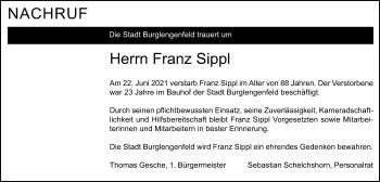 Traueranzeige von Franz Sippl von Mittelbayerische Zeitung Schwandorf