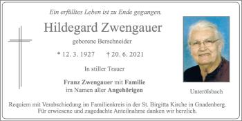 Traueranzeige von Hildegard Zwengauer von Neumarkter Tagblatt