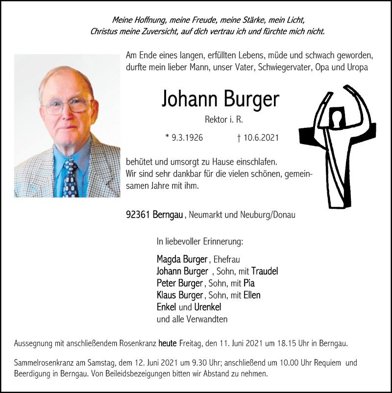 Traueranzeige für Johann Burger vom 11.06.2021 aus Neumarkter Tagblatt
