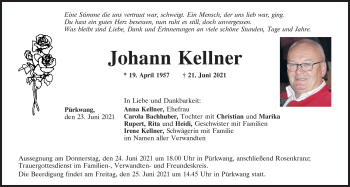 Traueranzeige von Johann Kellner von Mittelbayerische Zeitung Kelheim