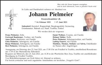 Traueranzeige von Johann Pielmeier von Mittelbayerische Zeitung Schwandorf