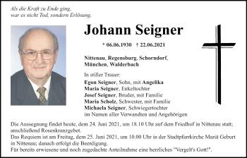 Traueranzeige von Johann Seigner von Bayerwald Echo
