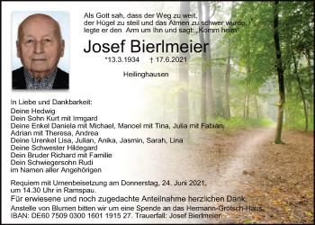 Traueranzeige von Josef Bierlmeier von Mittelbayerische Zeitung Regensburg