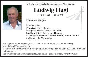 Traueranzeige von Ludwig Hagl von Mittelbayerische Zeitung Regensburg