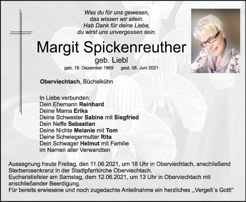 Traueranzeige für Margit Spickenreuther vom 11.06.2021 aus Mittelbayerische Zeitung Schwandorf