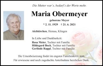 Traueranzeige von Maria Obermeyer von Mittelbayerische Zeitung Regensburg