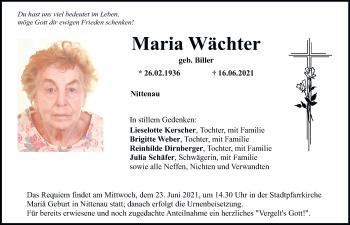 Traueranzeige von Maria Wächter von Mittelbayerische Zeitung Schwandorf