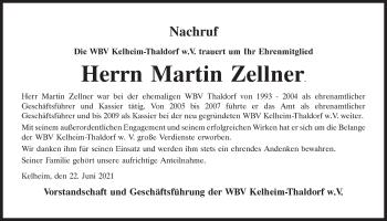 Traueranzeige von Martin Zellner von Mittelbayerische Zeitung Kelheim