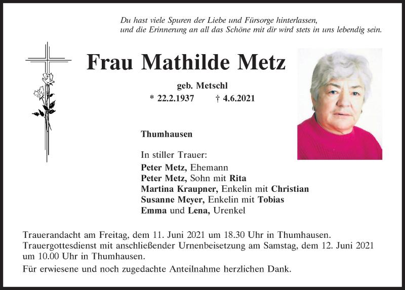 Traueranzeige für Mathilde Metz vom 09.06.2021 aus Mittelbayerische Zeitung Regensburg