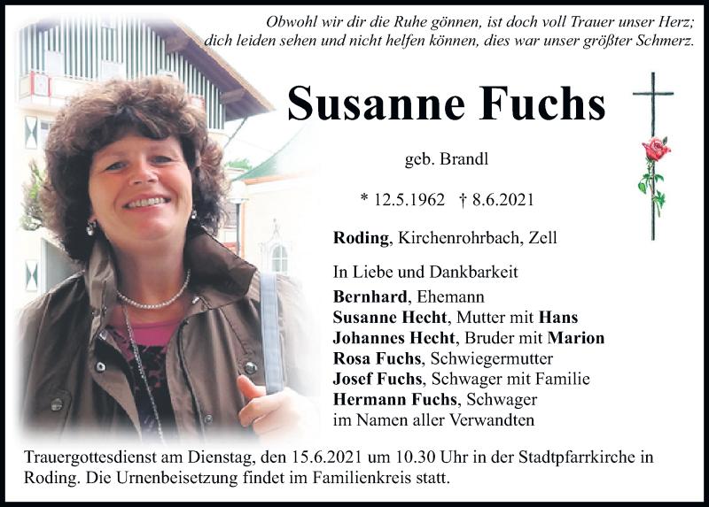 Traueranzeige für Susanne Fuchs vom 11.06.2021 aus Bayerwald Echo