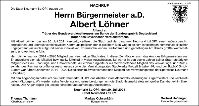 Traueranzeige für Albert Löhner vom 29.07.2021 aus Neumarkter Tagblatt