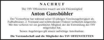 Traueranzeige von Anton Gansbühler von Mittelbayerische Zeitung Kelheim
