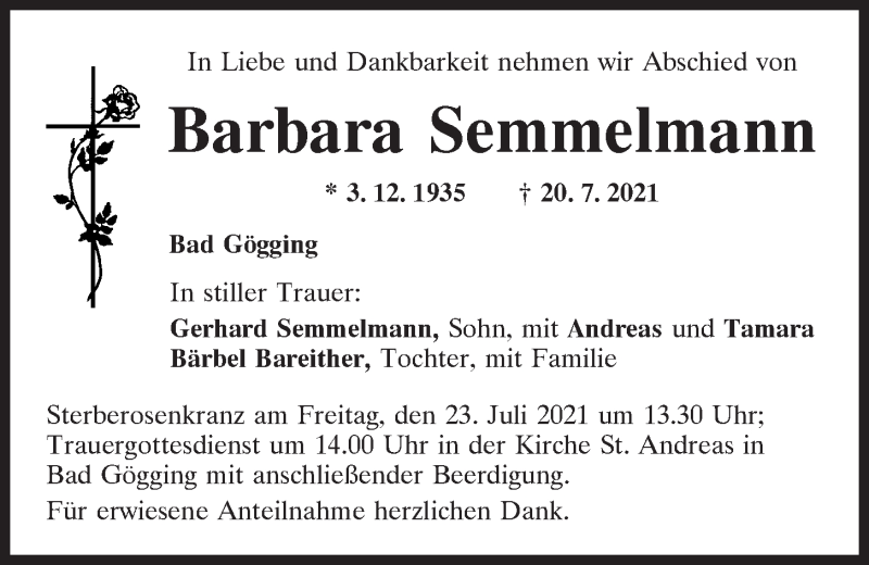 Traueranzeige für Barbara Semmelmann vom 21.07.2021 aus Mittelbayerische Zeitung Kelheim