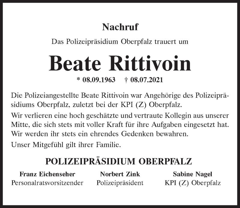 Traueranzeige für Beate Rittivoin vom 17.07.2021 aus Mittelbayerische Zeitung Regensburg